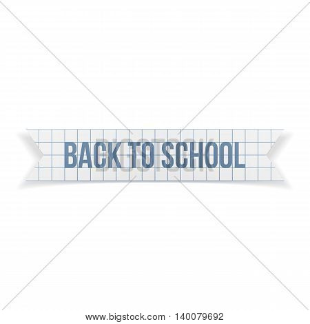 Back to School greeting Text on paper Ribbon. Vector Illustration.