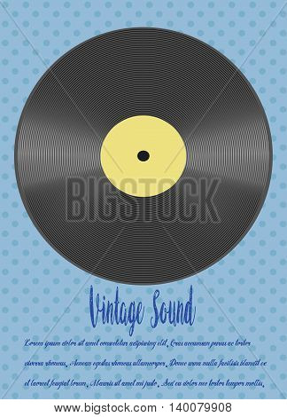 Vector - retro-styled vinyl on blue color background