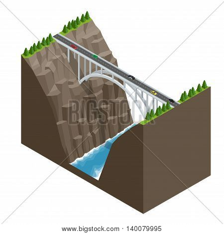 Bridge over the river in the mountains. Bridge construction flat isometric vector illustration