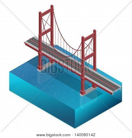 Bridge over the river, design, unit structure. Bridge construction. Vector flat 3d isometric illustration