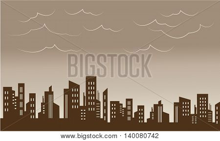 Beautiful city and skyline silhouettes vector illustration