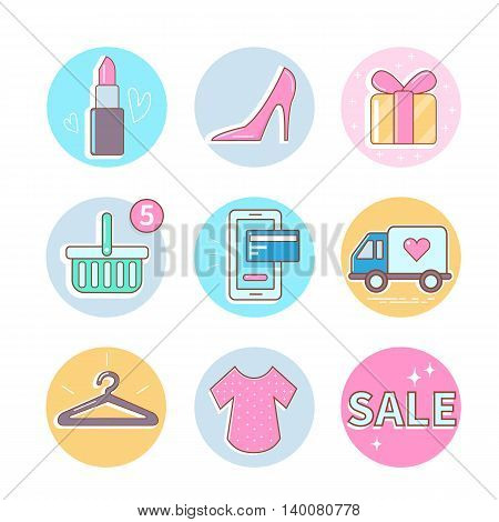 Fashion and shopping icons set. Vector icons.