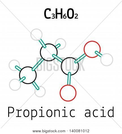 C3H6O2 Propionic acid 3d molecule isolated on white