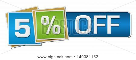 Five percent off concept image with text over colorful background.
