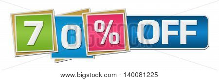 Seventy percent off concept image with text over colorful background.