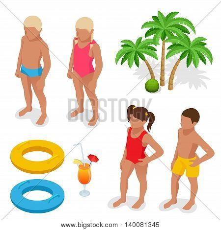 Girl and boy in a bathing suit, palm tree, life preserver, Orange juice. Summertime concept. Flat 3d vector isometric set icons.