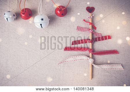 Christmas Tree Made From Ribbons, Eco Straw And Ornaments, Fairy Light And Toning Background