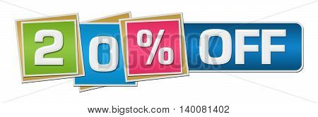Twenty percent off concept image with text over colorful background.