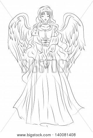 Illustration of an angel in a humble sketch style. It can be used for the Christmas holidays Easter at weddings or other religious events