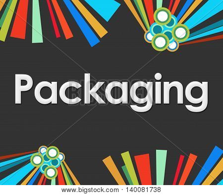 Packaging text written over dark colorful background.