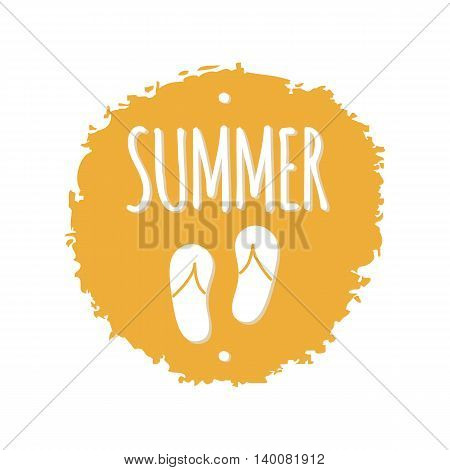 Summer flip flops sketch isolated yellow circle vector