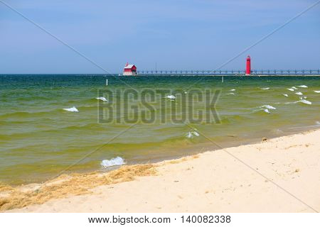 Grand Haven South Pierhead Inner Light, built in 1905, Lake Michigan, MI, USA