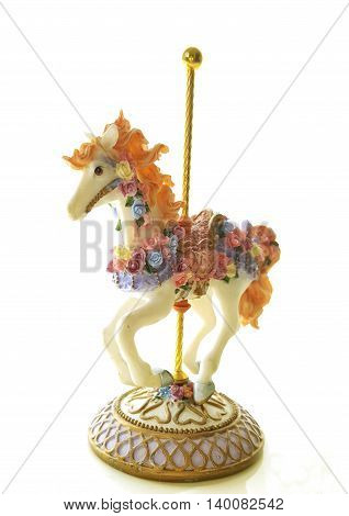 Fair ground ride a horses, Carnival Horses toy in white background