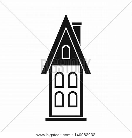 Two storey house with attic icon in simple style isolated on white background. Structure symbol