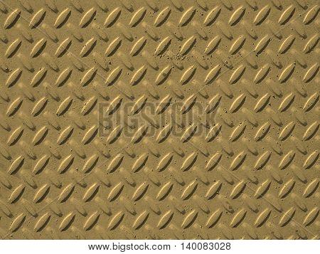 Yellow Steel Diamond Plate Background Sepia
