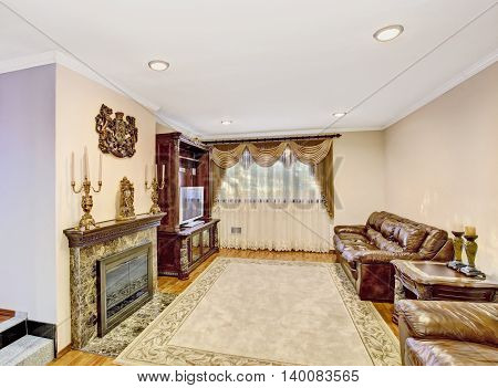 Luxury Living Room With Leather Sofa, Vintage Furniture.