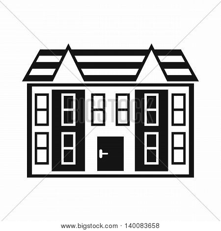Large two-storey house icon in simple style isolated on white background. Structure symbol