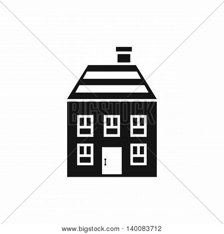 Two-storey house with chimney icon in simple style isolated on white background. Structure symbol