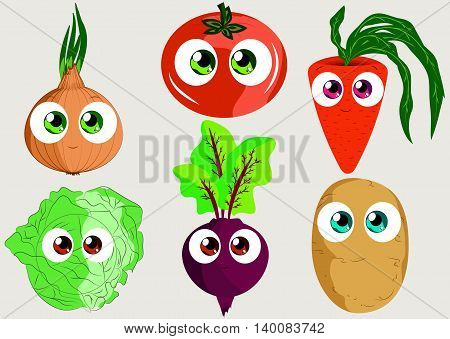 Set funny vegetables for use as stickers in games books on clothing or fabric websites and other projects