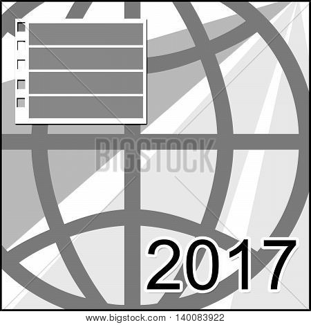 Abstract design 2017 calendar cover with note space backgound