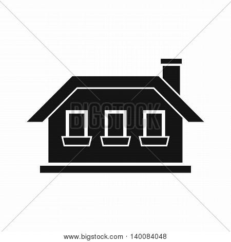 One-storey house with three windows icon in simple style isolated on white background. Structure symbol