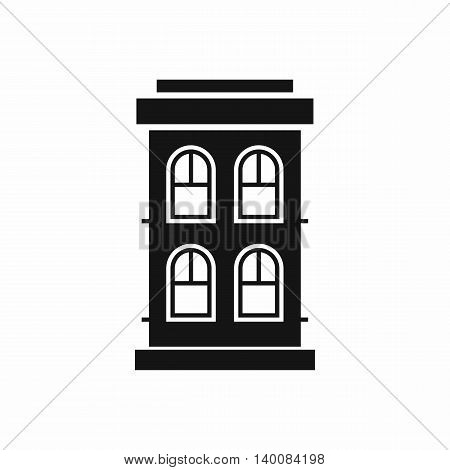Two-storey house with large windows icon in simple style isolated on white background. Structure symbol