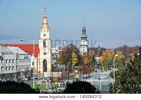Holy trinity church and Saint Elizabeth church in Zvolen city Slovak republic. Travel destination. Religious architecture. Place of worship.