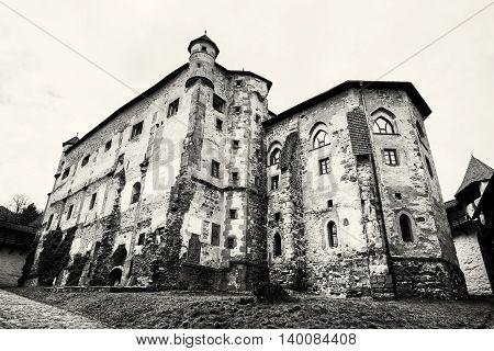 Old castle in Banska Stiavnica Slovak republic. Cultural heritage. Architectural theme. Unesco. Travel destination. Black and white photo. Ancient architecture.