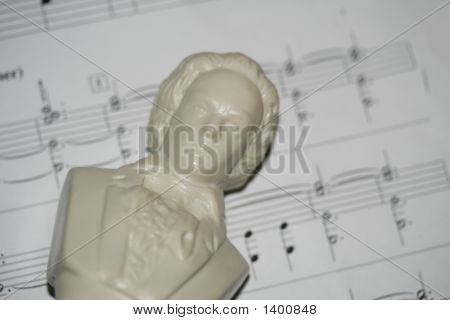 Beethoven Bust On Music Sheet