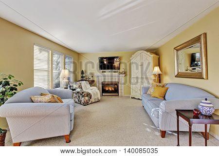 Elegant Family Room Interior With Light Blue Sofas.