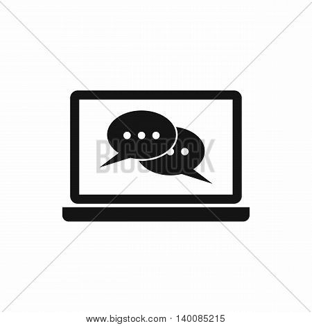 Speech bubbles on laptop screen icon in simple style isolated on white background