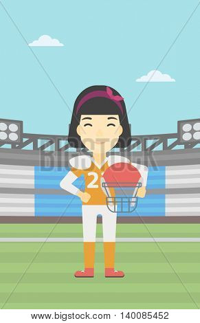 An asian young professional rugby player holding ball and helmet in hands. Female rugby player in uniform standing on rugby stadium. Vector flat design illustration. Vertical layout.