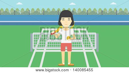 An asian female tennis player standing on the tennis court. Tennis player holding a tennis racket and a ball. Young woman playing tennis. Vector flat design illustration. Horizontal layout.