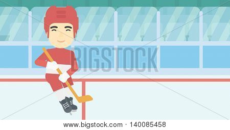 An asian ice hockey player with the beard skating on ice rink. Professional ice hockey player with a stick. Sportsman playing ice hockey. Vector flat design illustration. Horizontal layout.