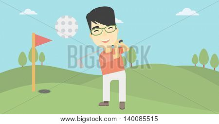 An asian golfer with the beard hitting the ball. Professional golfer on golf course. Young man playing golf. Vector flat design illustration. Horizontal layout.