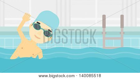 An asian young sportsman wearing cap and glasses swimming in pool. Professional male swimmer in swimming pool. Vector flat design illustration. Horizontal layout.