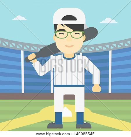 An asian young baseball player standing on a baseball stadium. Professional baseball player with a bat on his shoulder. Vector flat design illustration. Square layout.