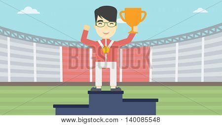 An asian sportsman celebrating on the winners podium. Young man with gold medal and trophy cup standing on the winners podium. Winner concept. Vector flat design illustration. Horizontal layout.