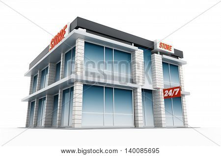 Generic store front isolated on white background. 3D illustration.