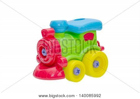 Colorful plastic train toy isolated over white