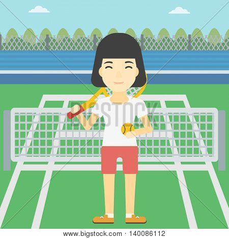 An asian female tennis player standing on the tennis court. Tennis player holding a tennis racket and a ball. Young woman playing tennis. Vector flat design illustration. Square layout.