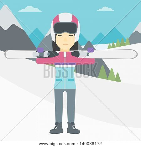 An asian woman carrying skis on her shoulders on the background of snow capped mountains. Vector flat design illustration. Square layout.