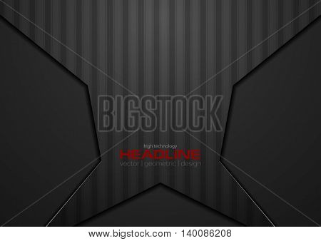 Abstract black geometric concept striped design. Vector template brochure dark background