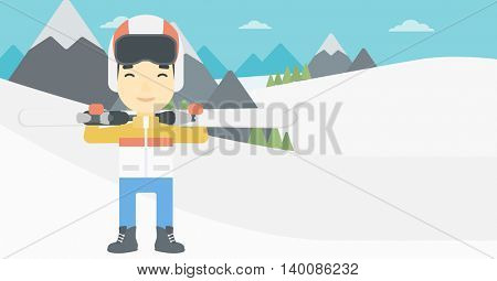 An asian sportsman carrying skis on his shoulders on the background of snow capped mountains. Vector flat design illustration. Horizontal layout.