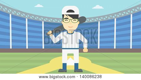 An asian young baseball player standing on a baseball stadium. Professional baseball player with a bat on his shoulder. Vector flat design illustration. Horizontal layout.
