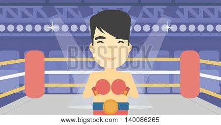 An asian sportsman in boxing gloves. Young professional male boxer standing in the boxing ring. Vector flat design illustration. Horizontal layout.