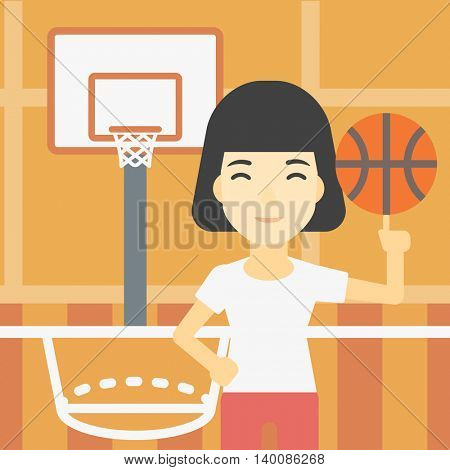An asian sportswoman spinning basketball ball on her finger. Young professional basketball player standing on the basketball court. Vector flat design illustration. Square layout.