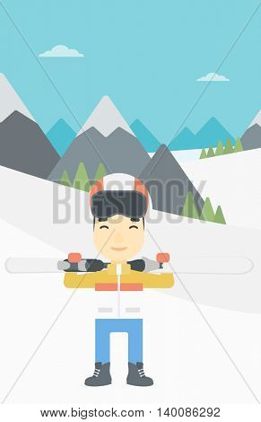 An asian sportsman carrying skis on his shoulders on the background of snow capped mountains. Vector flat design illustration. Vertical layout.