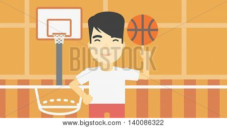 An asian sportsman spinning basketball ball on his finger. Young professional basketball player standing on the basketball court. Vector flat design illustration. Horizontal layout.