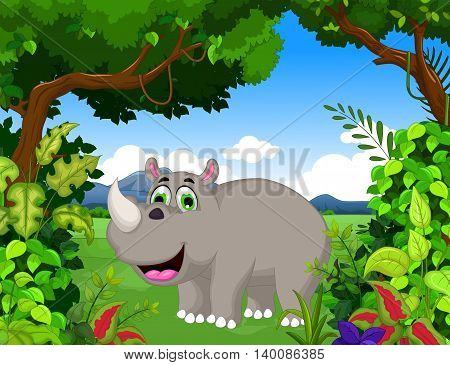 cute rhino cartoon in the jungle with landscape background